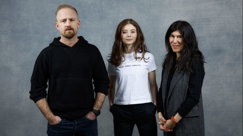 """Leave No Trace"" stars Ben Foster and Thomasin Harcourt McKenzie are shown with director Debra Granik in the L.A. Times Studio during the Sundance Film Festival."