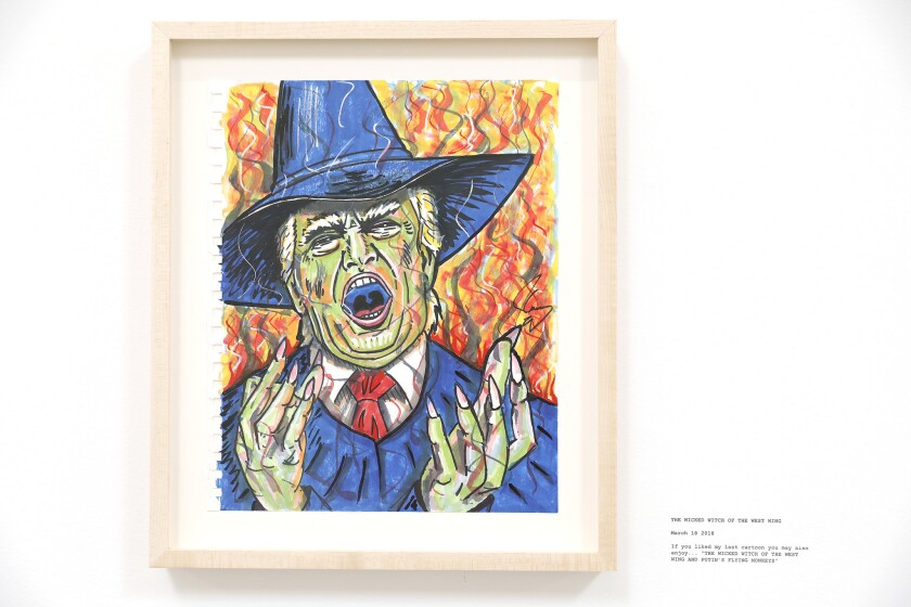 LOS ANGELES-CA-OCTOBER 21, 2018: A drawing of President Donald Trump, part of actor Jim Carrey's gal