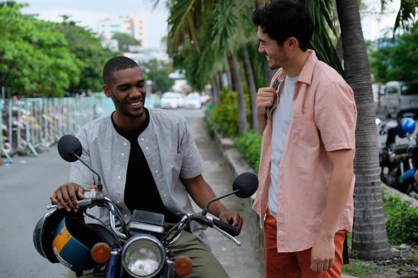 """Parker Sawyer and Henry Golding set off for a ride in """"Monsoon."""""""