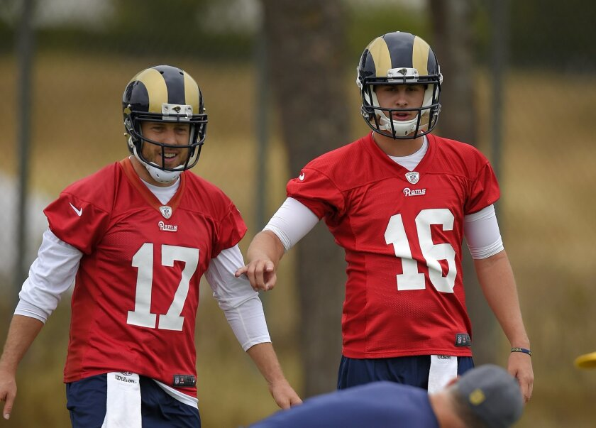 Los Angeles Rams quarterbacks Case Keenum, left, and Jared Goff talk during NFL football practice, Wednesday, June 1, 2016, in Oxnard, Calif. (AP Photo/Mark J. Terrill)