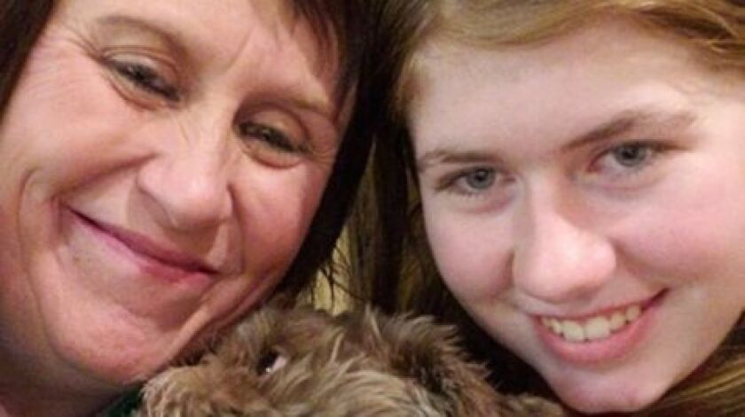Jayme Closs, right, with her aunt, Jennifer Smith in Barron, Wis., on Friday. Jake Thomas Patterson, 21, was jailed on suspicion of kidnapping Jayme and the October homicides of her parents.