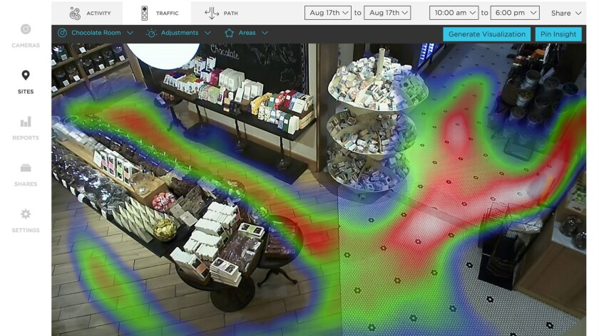Software from San Francisco start-up, Prism Skylabs, uses cameras with heat mapping to provides analytics to retailers.
