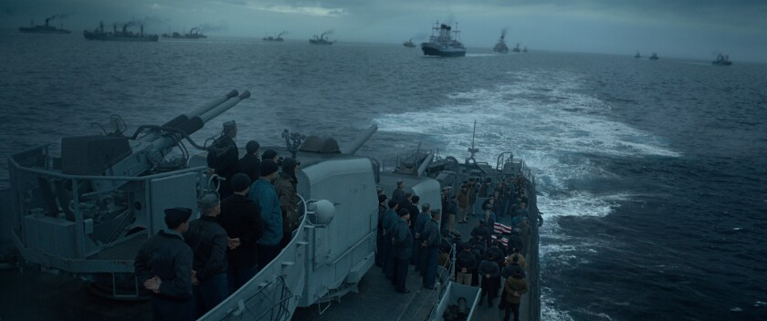 """The intense ocean battle sounds in """"Greyhound"""" helped keep the tension at a frenetic pace."""
