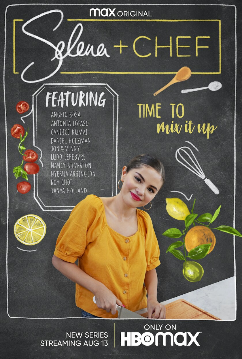 """Singer-actress Selena Gomez in a poster for her HBO Max series, """"Selena + Chef."""""""