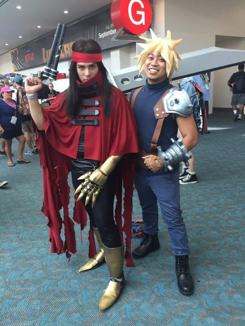 Comic-Con cosplayers Luis Preciado, 25, of San Diego (left) and Ryan Roxas, 30, of San Diego (right) pose as Vincent and Cloud from the Final Fantasy VII video game.