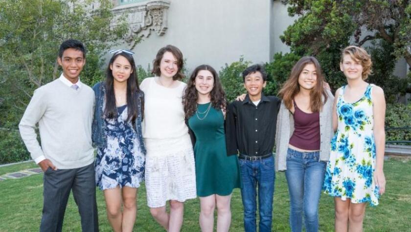 Contest-winning playwrights, from left: Matthew Maceda, Cassandra Hsiao, Katie Taylor, Eliana Dunn, Minh-Son Tran, Samantha Rafter and Absinthe McDonald.