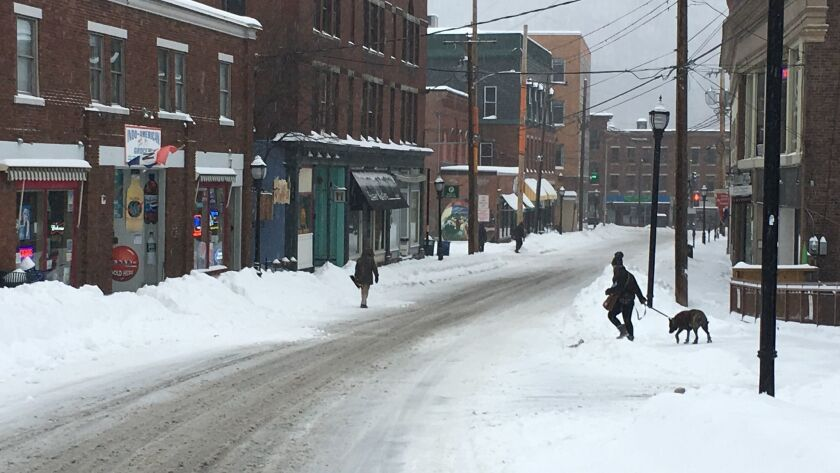 This photo shows Elliot Street in downtown Brattleboro, Vt., Sunday, Jan. 20, 2019, after a winter