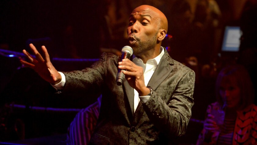 """Eric Jordan Young belts out a song during """"The Cocktail Cabaret"""" at Cleopatra's Barge in Caesars Palace Las Vegas."""
