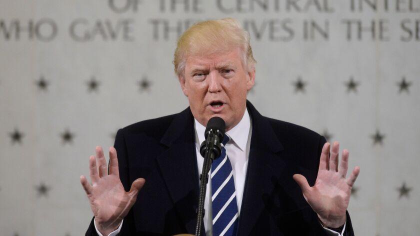 President Trump speaks at CIA headquarters in Langley, Va., on Jan. 21.