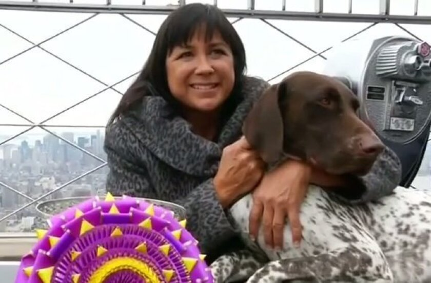 Valerie Nunes-Atkinson and CJ, a German shorthaired pointer, pose for photographers at the Empire State Building in this screen grab from Reuters video.