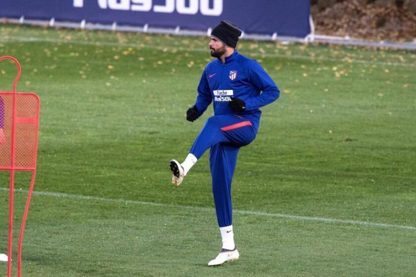 El delantero del Atlético de Madrid, Diego Costa durante un entrenamiento. EFE/Archivo