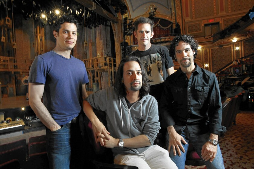 """The new Broadway show """"Hamilton"""" is a collaboration among Thomas Kail (director), left, Lin-Manuel Miranda (music, lyrics and book), Andy Blankenbeuhler (choreographer) and Alex Lacamoire (music direction and orchestrations), shown at the Richard Rodgers Theatre in New York City on July 20, 2015."""