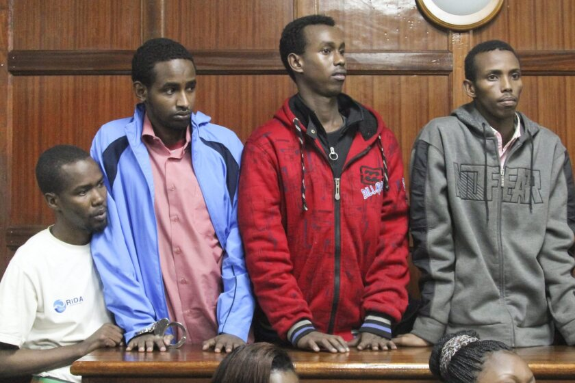 Four men accused of assisting in the attack on Nairobi's Westgate mall appear in court. They are, from left, Liban Abdulla Omar, Mohamed Ahmed Abdi, Hussein Hassan Mustafah and Adan Dheq, who went by several other names.