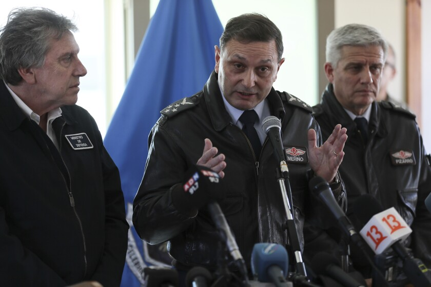 Chile's Air Force Commander Arturo Merino speaks at a news conference Dec. 12 at the Chilean Air Force base in Punta Arena.