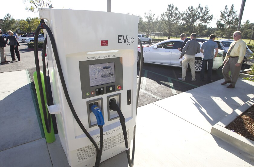 A standalone electric vehicle charging station in Newport Beach