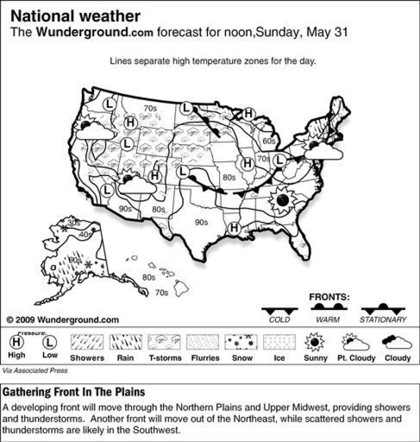 The forecast for noon, Sunday, May 31, 2009 shows a developing front will move through the Northern Plains and Upper Midwest, providing showers and thunderstorms.  Another front will move out of the Northeast, while scattered showers and thunderstorms are likely in the Southwest. (AP Photo/Weather