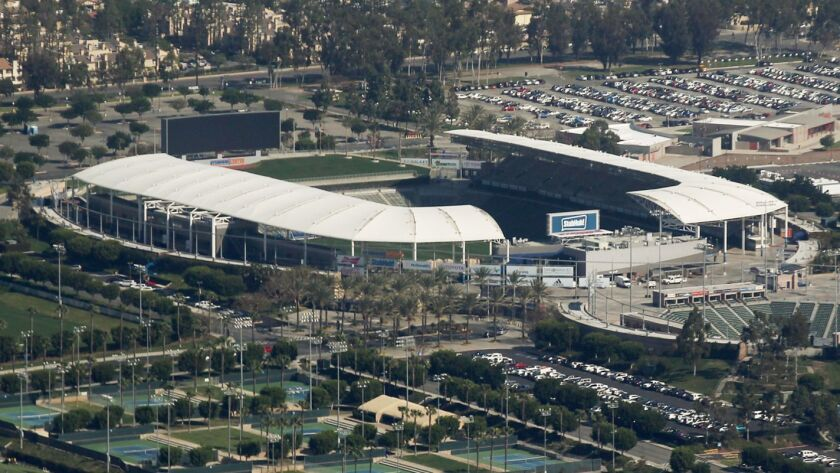 LOS ANGELES, CALIF. - FEB. 19, 2016. An aerial view of the StubHub Center in Carson, home of the Lo