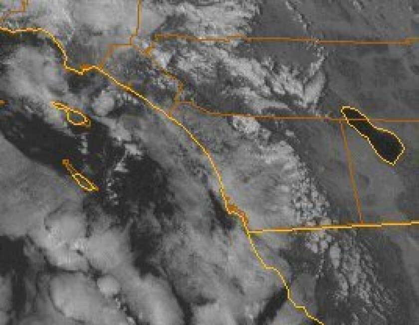 Cloud cover was extensive over Southern California on Wednesday afternoon.