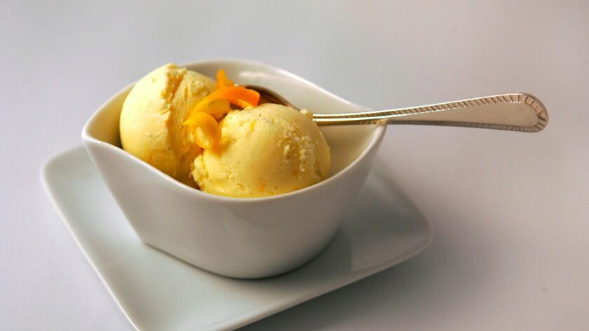 Homemade Meyer lemon ice cream.