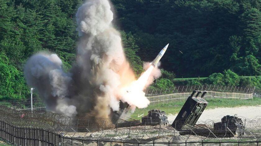 In this photo provided by South Korea Defense Ministry, a U.S. MGM-140 Army Tactical Missile is fire