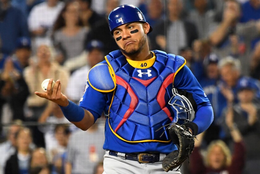 Chicago Cubs catcher Willson Contreras gestures during a game against the Dodgers in June.