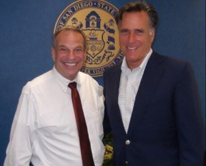 San Diego Mayor Bob Filner and part-time La Jolla resident Mitt Romney at City Hall May 6, 2013. Courtesy