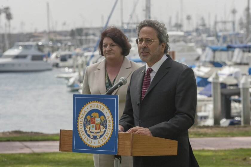 Assembly member Richard Bloom (D-Santa Monica), and Assembly Speaker Emeritus Toni Atkins (D-San Diego) talked about the marine park's decision to stop captive breeding of orcas and phase out their shows.