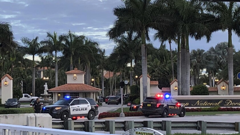 Police respond to The Trump National Doral resort after reports of a shooting inside the resort Frid