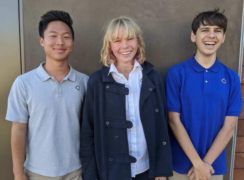 Brett Kim, Lena Luostarinen and Caeden Mujahed win first place in the NFTE World Series of Innovation.