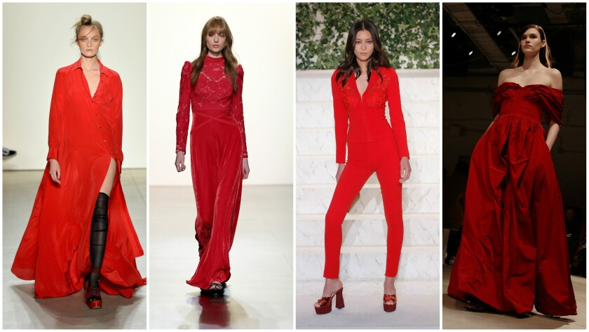 Looks in statement-making shades of all-red, from left, from Adam Selman, Tadashi Shoji, La Perla and Brock Collection.