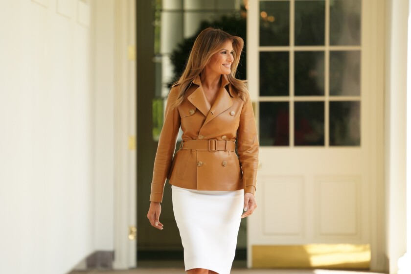 First lady Melania Trump walks out to speak on her initiatives during an event in the Rose Garden of the White House, Monday, May 7, 2018, in Washington.