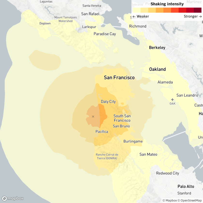 Map showing the epicenter and expanse of the earthquake