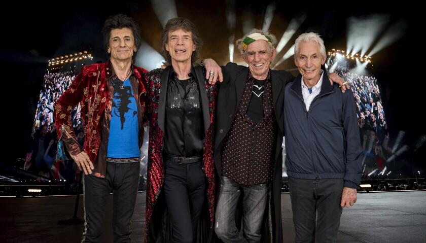 The Rolling Stones are now on the road, just a few months after lead singer Mick Jagger (second from left) underwent heart valve surgery. The band performs its only Southern California concert  of the tour Thursday at the Rose Bowl in Pasadena. Shown from left are Ron Wood, Jagger, Keith Richards and Charlie Watts.