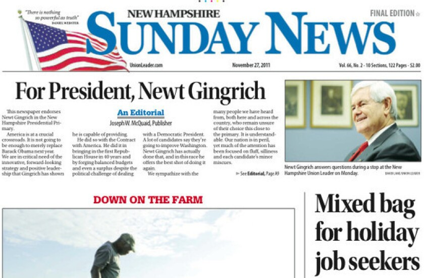 The Union Leader endorsed Newt Gingrich on the front page of its Sunday edition.