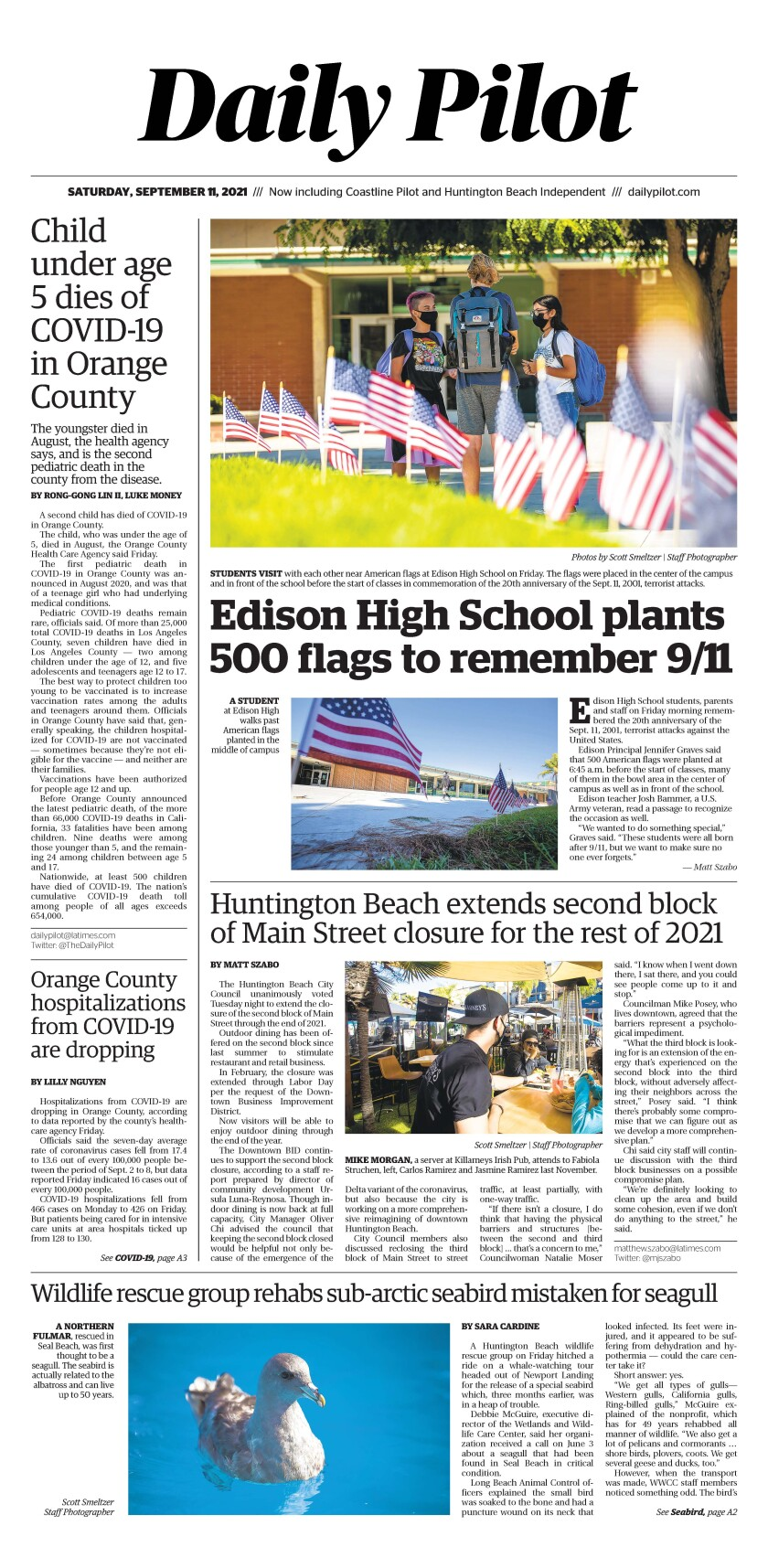 Front page of Daily Pilot e-newspaper for Saturday, Sept. 11, 2021.