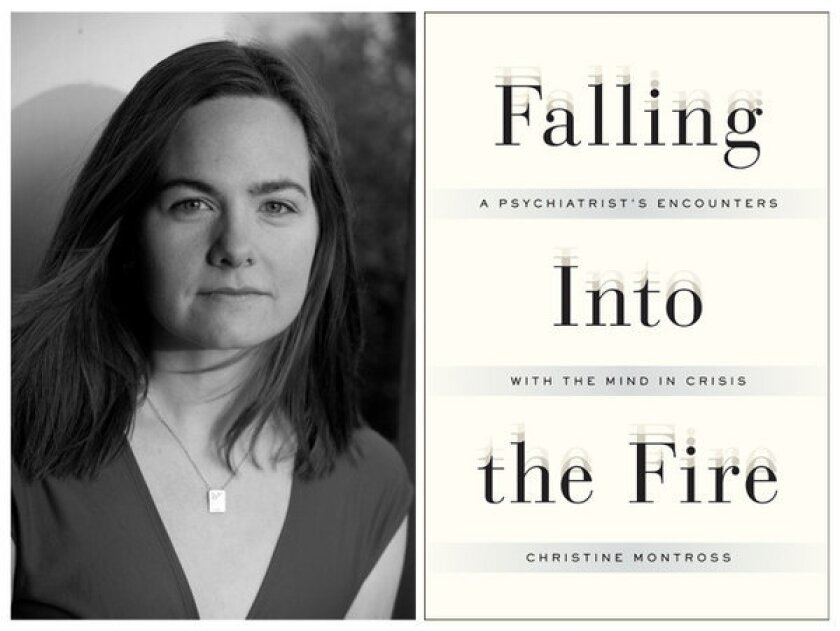 """Author Christine Montross and the cover of her book, """"Falling Into the Fire."""""""