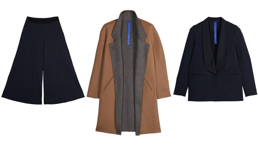 From left, Voyage wide leg trouser; turn-around reversible jacket; Pursuit blazer from the recent fall collection from Kit and Ace.