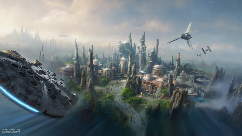 An artist rendering of the Star Wars land that is under construction in Disneyland shows the Millennium Falcon in a prominent position.