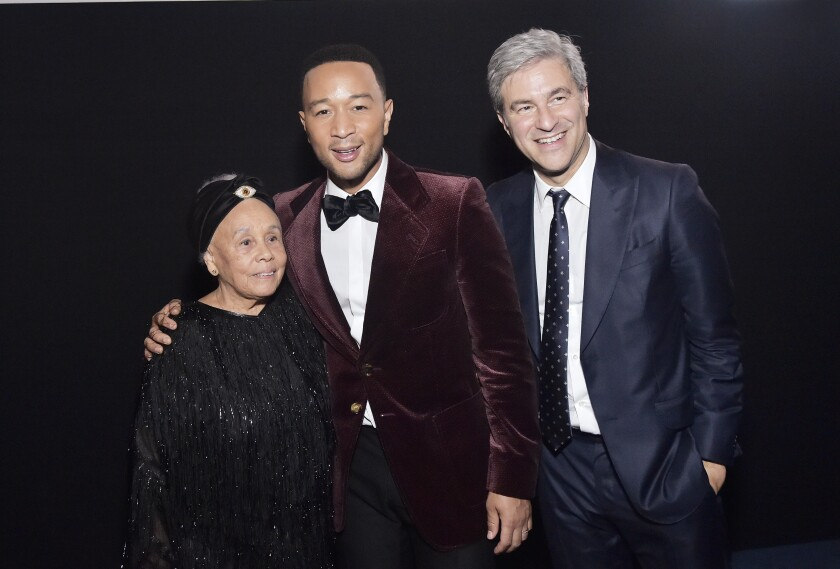 Betye Saar, John Legend and LACMA Director Michael Govan at the museum's annual gala.