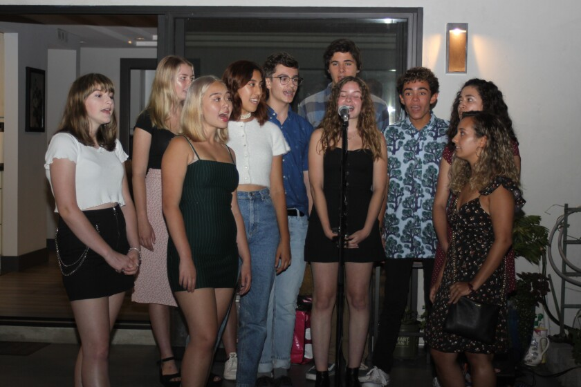 Students perform at the La Jolla High School Theater Department Booster Club launch party, Aug. 25.