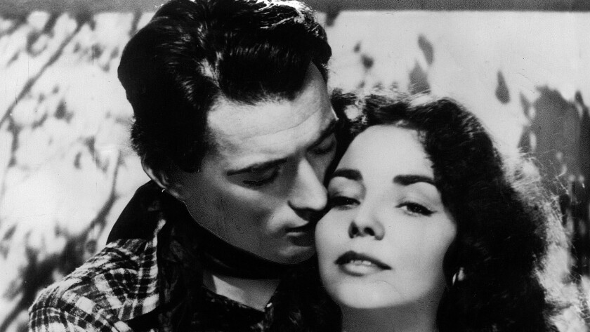 """Jennifer Jones and Gregory Peck co–star in David O. Selznick's """"Duel in the Sun"""" in 1946. Photo uncr"""
