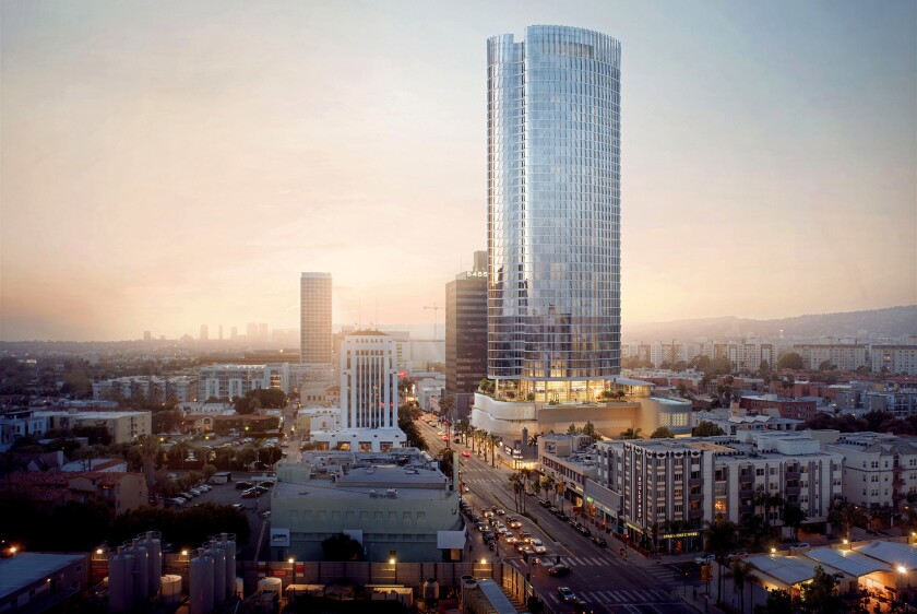 Rendering of a planned $400 million apartment and retail complex at 5411 Wilshire Blvd.