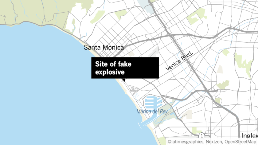 Map showing Venice location where fake explosive was found