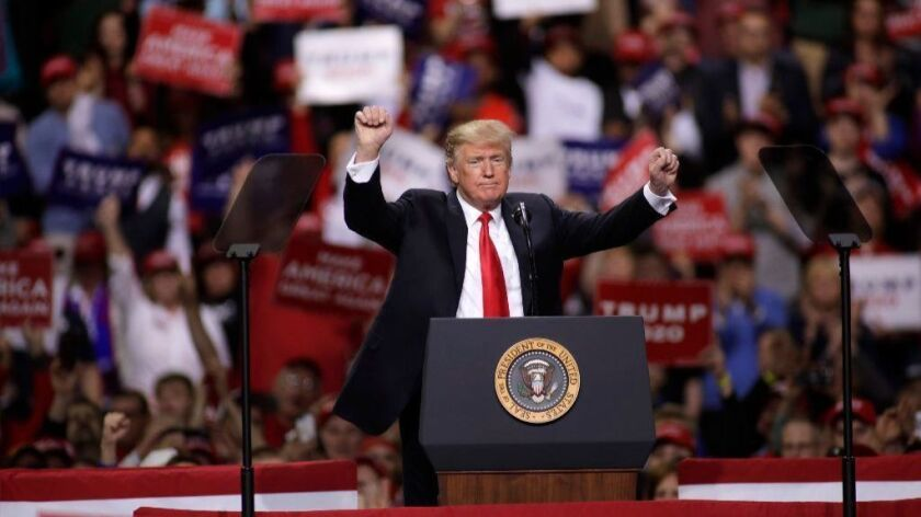 President Trump speaks at a April 27 rally in Green Bay, Wis.