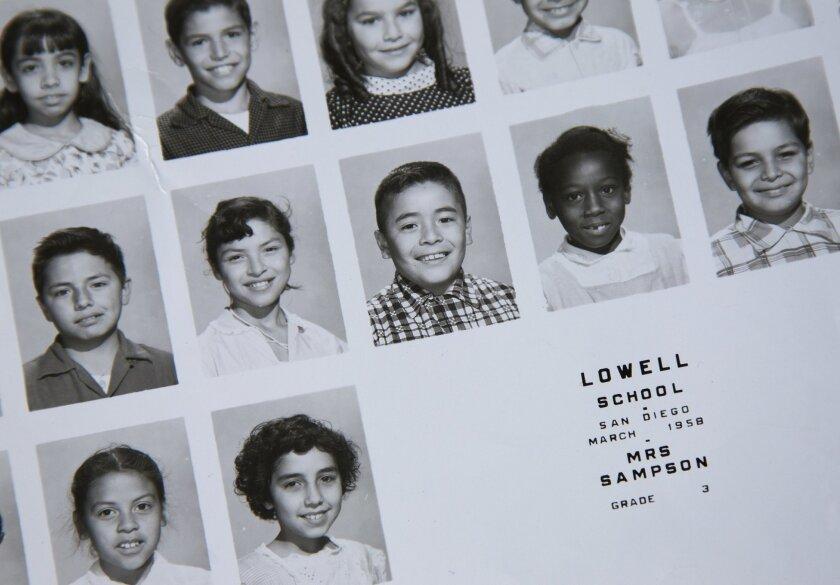Juan Felipe Herrera, in checked shirt, in third grade.