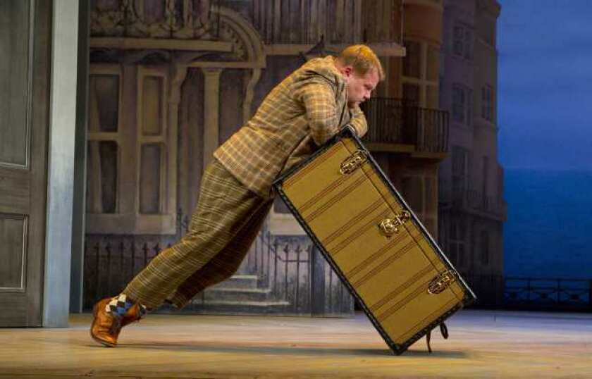 """James Corden in """"One Man, Two Guvnors"""" at the Music Box."""