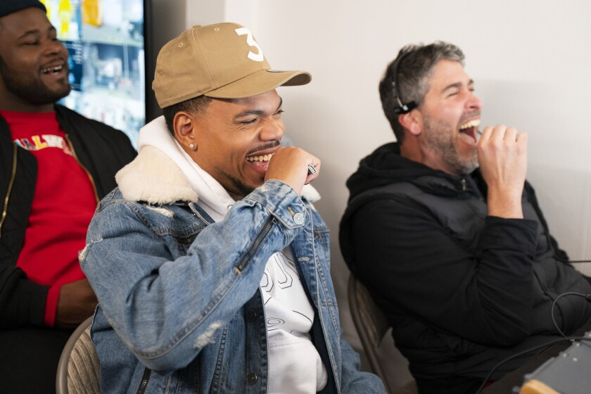 "Chance the Rapper, left, in a scene from Quibi's prank show ""Punk'd."""