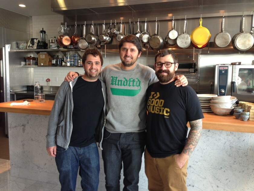 From left, Jon Shook, Ludo Lefebvre and Vinny Dotolo of Trois Mec in Los Angeles.