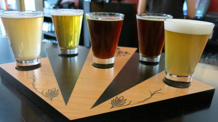 Angel City Brewery's taster tray of craft beer. The brewery is having a What Would You Brew contest.