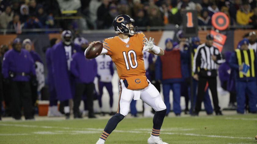 Chicago Bears quarterback Mitchell Trubisky (10) throws a pass during the first half against the Minnesota Vikings.
